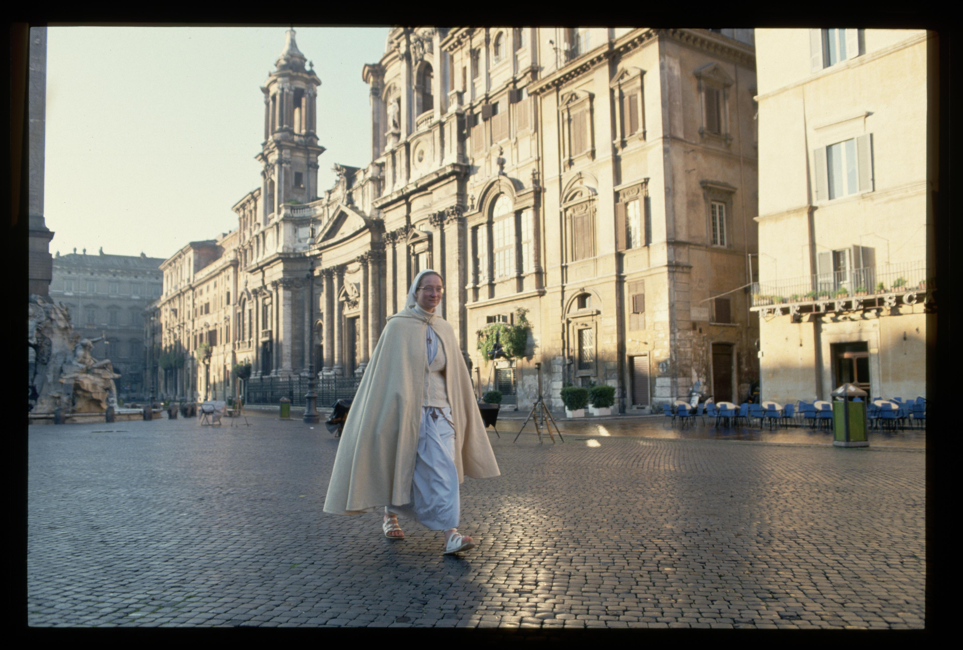 quartzy Nun Walking in Empty Piazza Navona