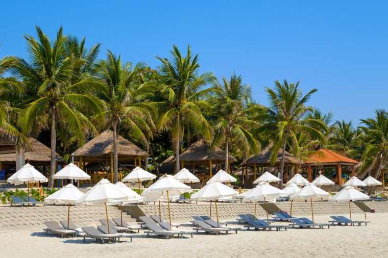 Doc Let beach, Vietnam. Umbrellas and sunbeds.